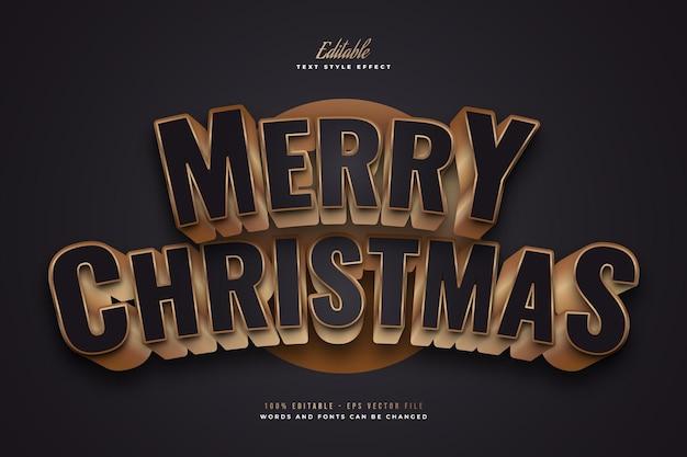 Elegante merry christmas-tekst in zwarte en gouden stijl met 3d en gebogen effect. bewerkbaar tekststijleffect