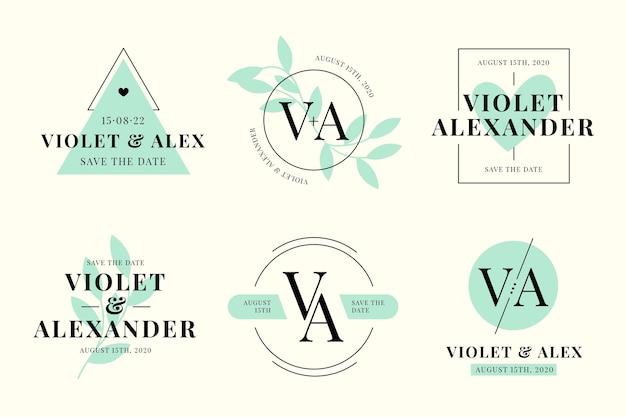 Elegante minimalistische blauwe monogrammen voor bruiloft
