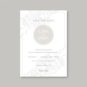 Elegante minimalistische bloemenhuwelijksuitnodiging