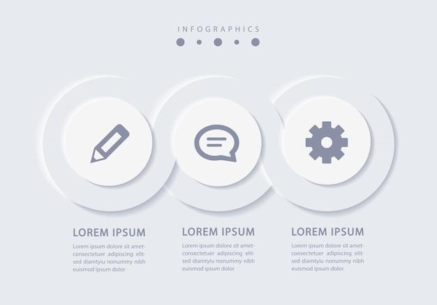 Elegante minimalistische infographic met 3 stappen