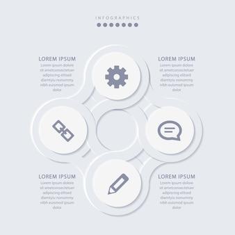 Elegante minimalistische infographic met 4 stappen