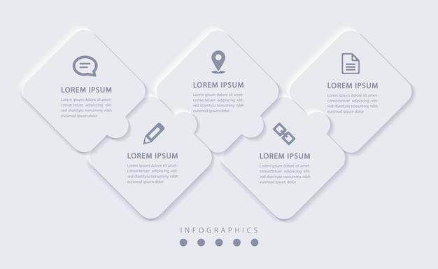 Elegante minimalistische infographic met 5 stappen