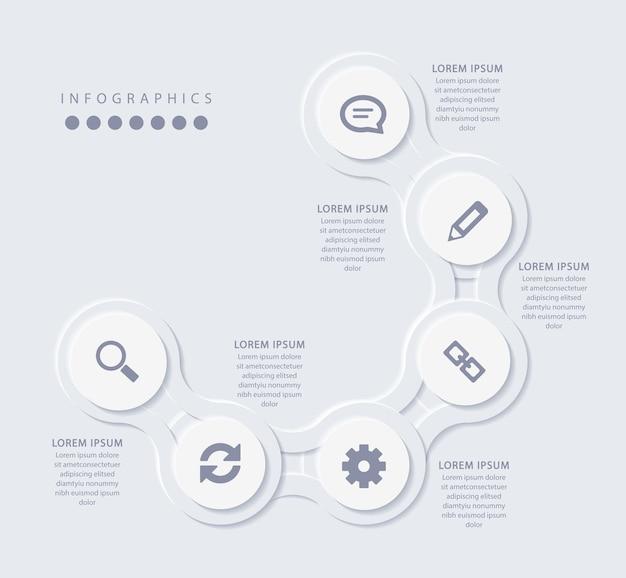 Elegante minimalistische infographic met 6 stappen