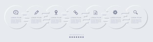 Elegante minimalistische infographic met 7 stappen