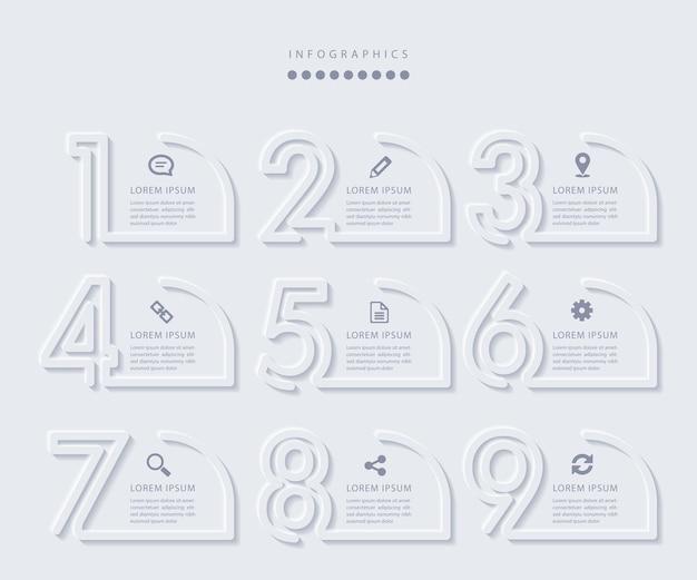 Elegante minimalistische infographic met 9 stappen Premium Vector