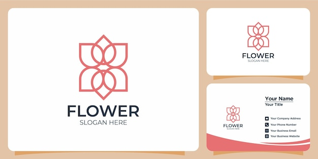 Elegante minimalistische lijnstijl bloem logo set met visitekaartje branding