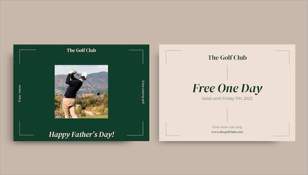 Elegante, minimalistische sjabloon voor cadeaubonnen voor golfvaderdag