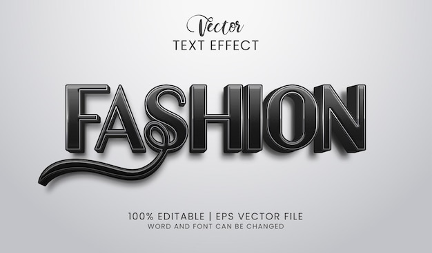 Elegante mode bewerkbare teksteffect zwarte stijl Premium Vector