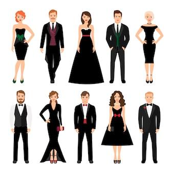 Elegante mode mensen vector illustratie. mannen in smokings en vrouwen in zwarte geïsoleerde avondjurken