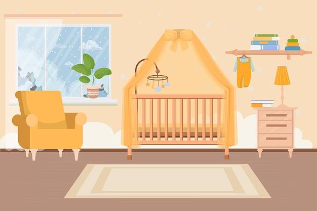 Elegante moderne comfortabele baby peuter slaapkamer kamer interieur babybed stoel tafel en plank