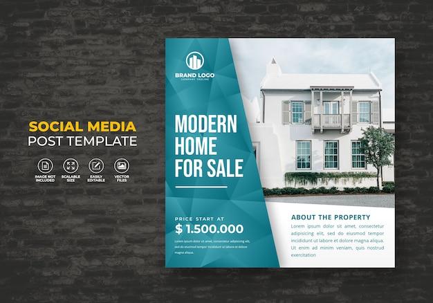 Elegante moderne droom thuis onroerend goed te koop campagne sociale media post sjabloon