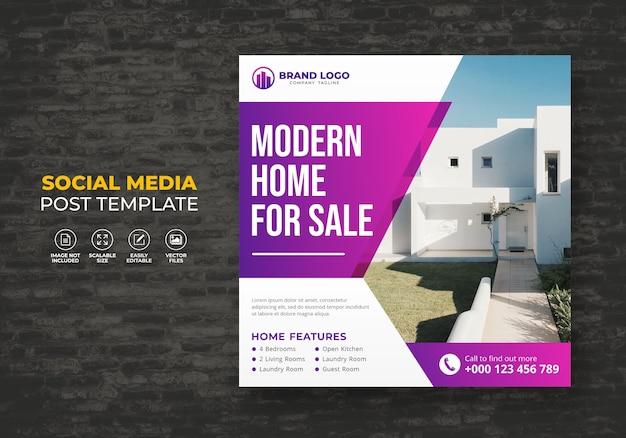 Elegante moderne droomhuis te koop onroerend goed sociale media post sjabloon