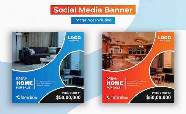 Elegante moderne huis onroerend goed sociale media post sjabloon