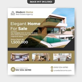 Elegante moderne onroerend goed huis verkoop sociale media sjabloon voor spandoek