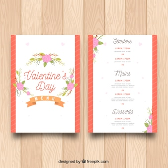 Elegante moderne valentijnskaart menu concept