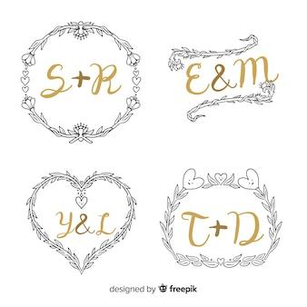 Elegante monogram bruiloft collectie sjabloon