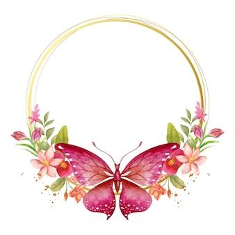 Elegante mooie aquarel lente bloemen frame Premium Vector