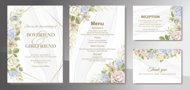 Elegante mooie bloemen- en huwelijksuitnodiging