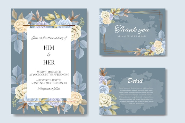 Elegante mooie zachte bloemen en bladeren bruiloft uitnodiging