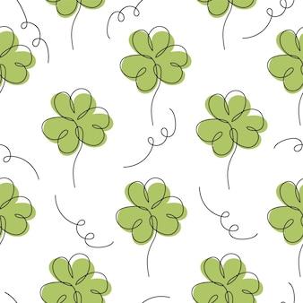 Elegante naadloze lijnpatroon met klaverblaadjes, ontwerpelementen. bloemmotief voor uitnodigingen, kaarten, print, cadeaupapier, stof