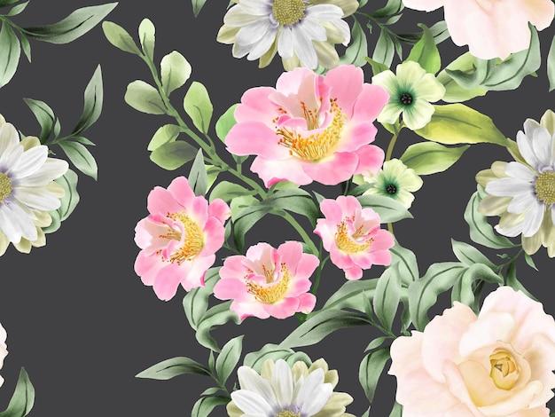 Elegante naadloze patroon bloemenwaterverf