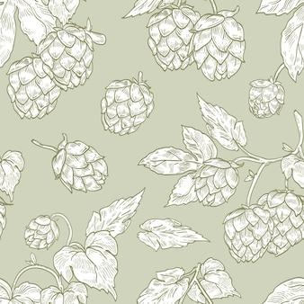 Elegante naadloze patroon met hop bloemen hand getekend met contourlijnen op groene achtergrond