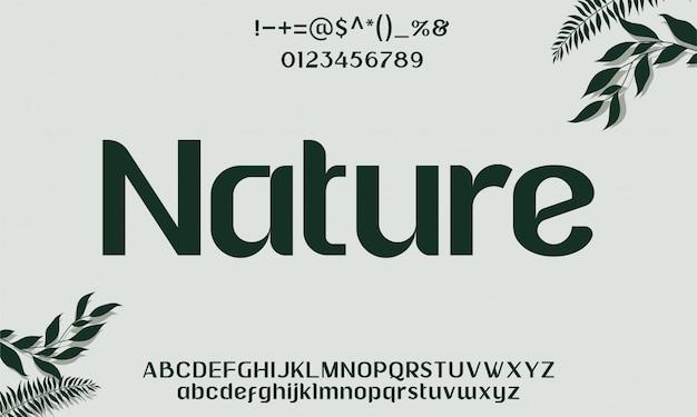 Elegante natuur lettertype lettertype alfabet