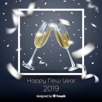 Elegante nieuwe jaar 2019 samenstelling met realistisch ontwerp