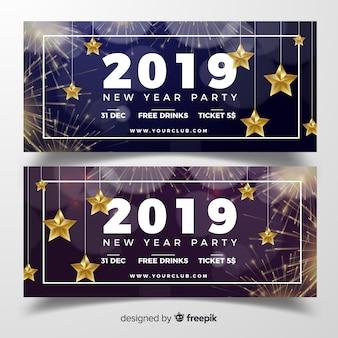 Elegante nieuwe jaarfeest banners met realistische ontwerp