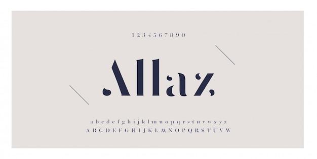 Elegante ontzagwekkende alfabetbrieven lettertype en nummer