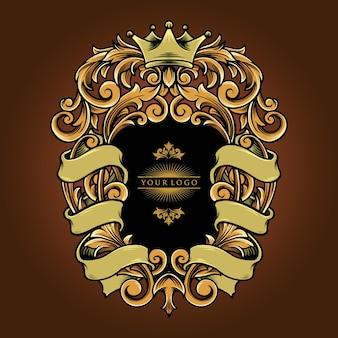 Elegante ornamenten met lint vintage vectorillustraties voor uw werk logo, mascotte merchandise t-shirt, stickers en labelontwerpen, poster, wenskaarten reclame bedrijf of merken.