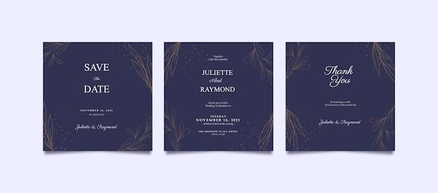 Elegante paarse en gouden instagram-post voor bruiloft