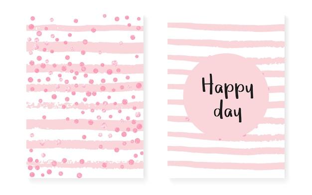 Elegante pailletten. wit droomontwerp. roze gatsby-element. streep huwelijk uitnodigen. decoratieve tijdschriftenset. stijlvol sterrenstof. gouden scatter-deeltjes. gestreepte elegante pailletten