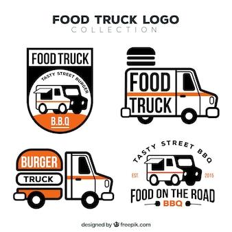 Elegante pak moderne logotypes van het voedselvrachtwagen