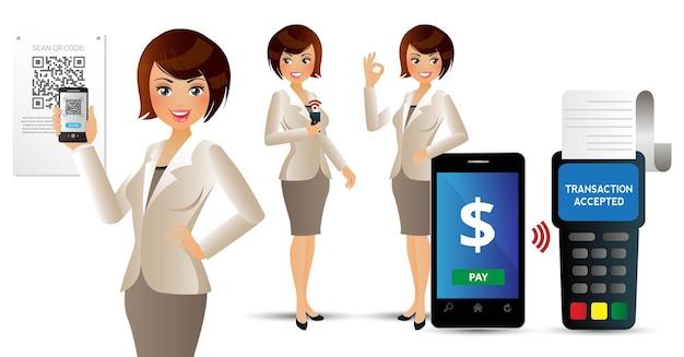Elegante people-mobil-betalingen