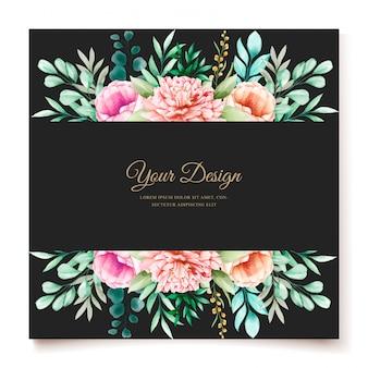 Elegante pioenrozen bruiloft uitnodiging ontwerpsjabloon