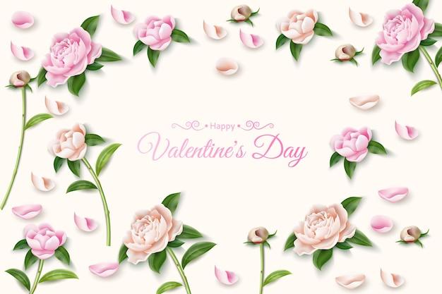 Elegante pioenrozen patroon frame met happy valentijnsdag inscriptie