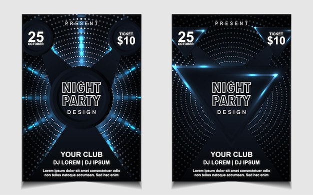 Elegante poster sjabloon voor electro muziekfestival met blauw licht