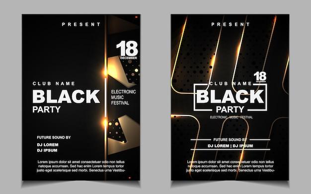 Elegante poster sjabloon voor electro muziekfestival met gouden licht