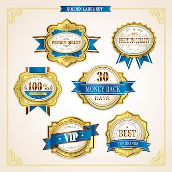 Elegante premium kwaliteit gouden labels collectie over beige