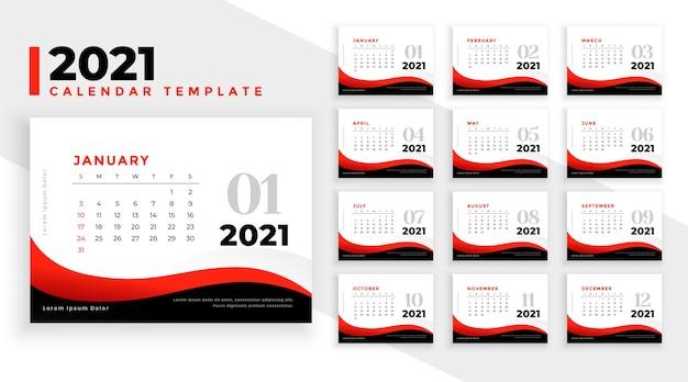Elegante professionele 2021 nieuwjaar zakelijke kalendersjabloon