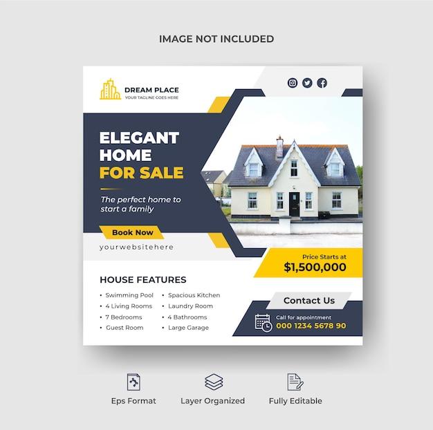 Elegante promotie voor thuisverkoop sociale media post of vierkante flyer met geometrische vormen premium vector