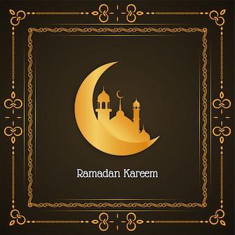Elegante ramadan kareem-achtergrond met toenemende maan