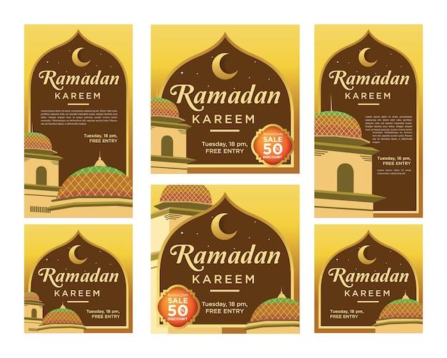 Elegante ramadan kareem instagram-verhalen en feedpost kit-sjabloon