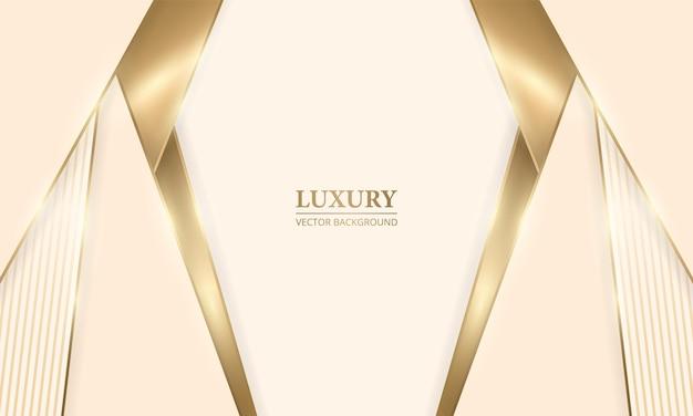 Elegante realistische crèmekleurige luxe designachtergrond met gouden lijnen en schaduwen