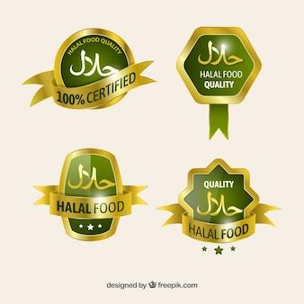 Elegante reeks halal voedseletiketten met gouden stijl