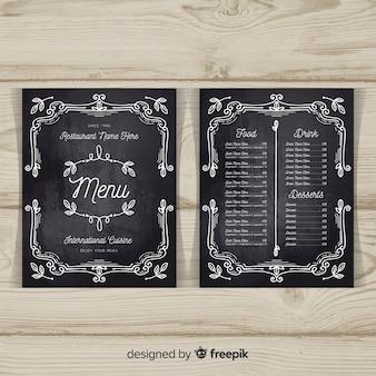 Elegante restaurant menusjabloon met schoolbordstijl