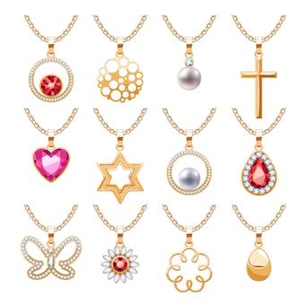 Elegante robijnen edelstenen sieraden hangers voor ketting of armband set. diverse vormen - abstract, hart, parel, kruis, ster, bloem, vlinder. goed voor sieraden cadeau. Premium Vector
