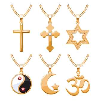 Elegante robijnen edelstenen sieraden religieuze symbolen hangers voor ketting of armband set. goed voor sieraden cadeau.