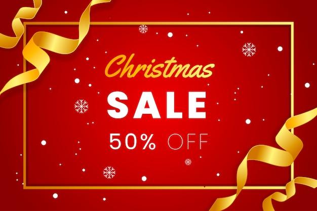 Elegante rode kerst verkoop banner met gouden lint